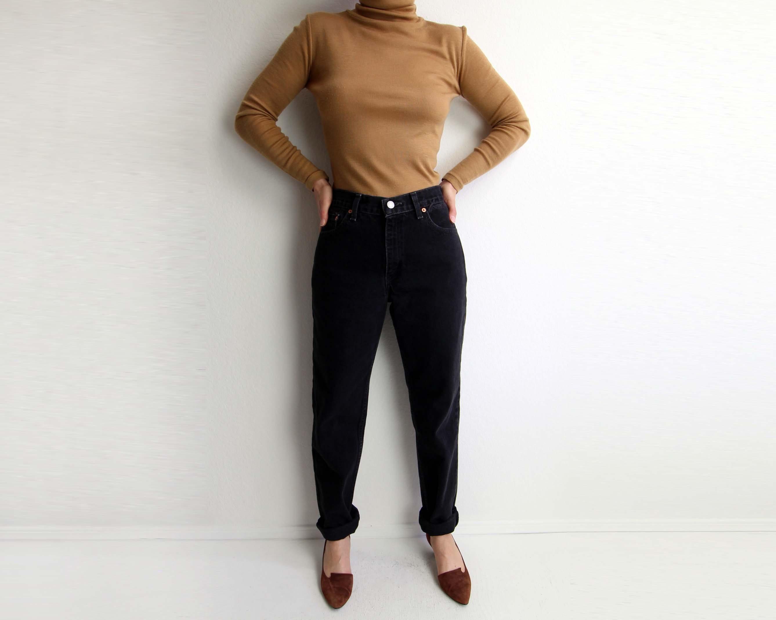 a5e36c48eff VINTAGE Levis Jeans 512 Black Denim Tapered Leg High Waist Made in USA  Womens Medium 27 Waist. gallery photo ...