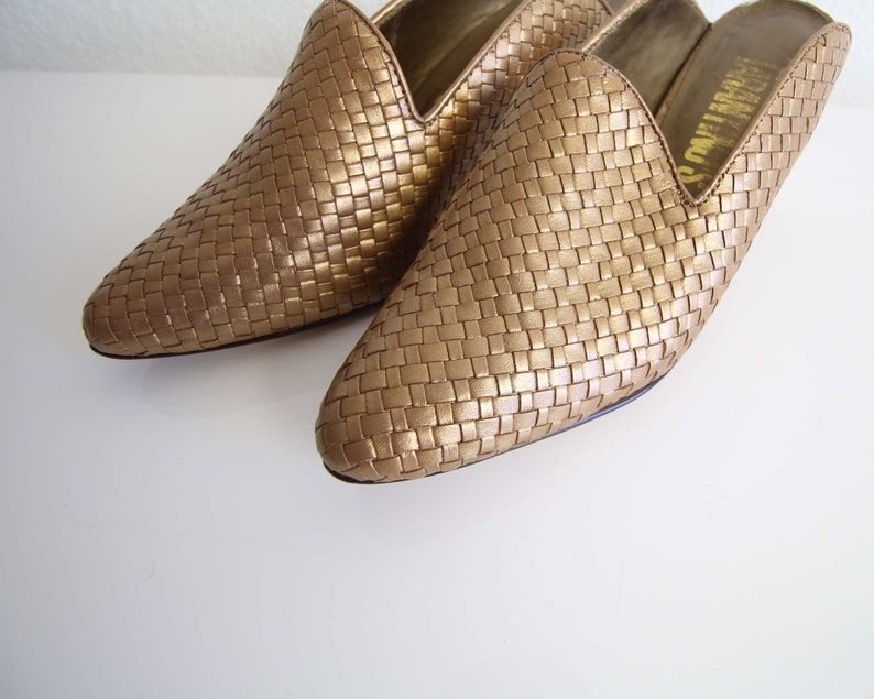 Vintage Womens Shoes Size 7 Bronze 1990s Mules Leather Woven Heels