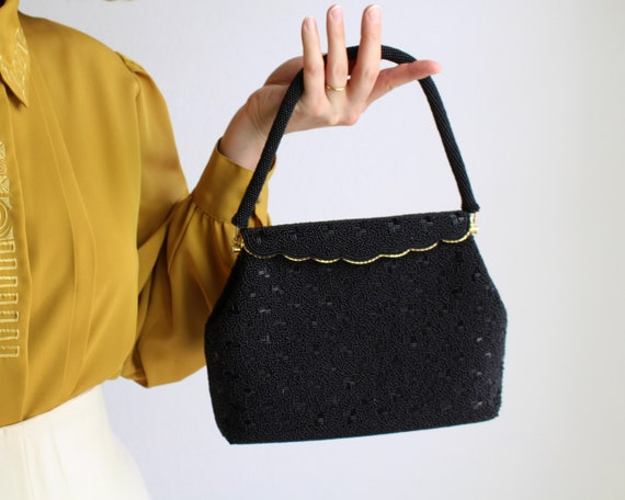 Vintage 1980s Evening Bag Black Beaded Purse