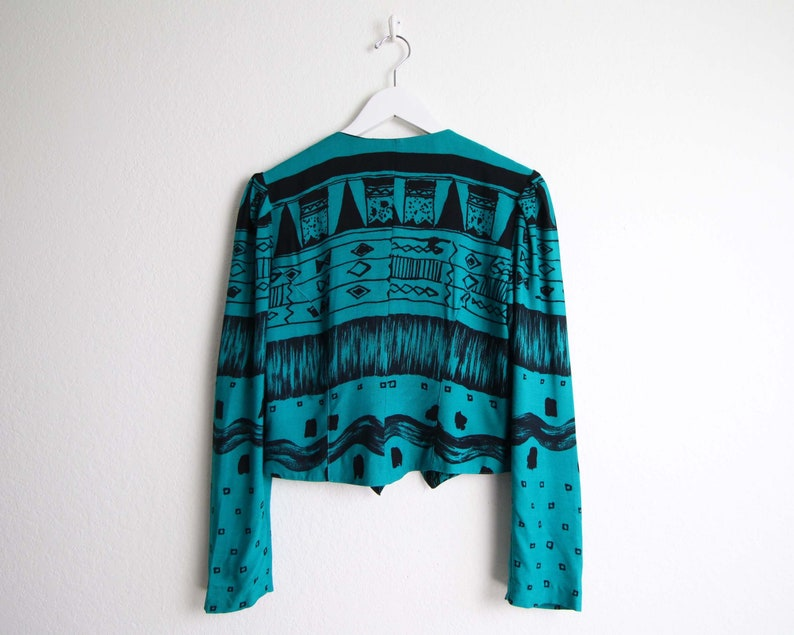 Vintage Crop Top 1990s Printed Blouse Womens Top Small