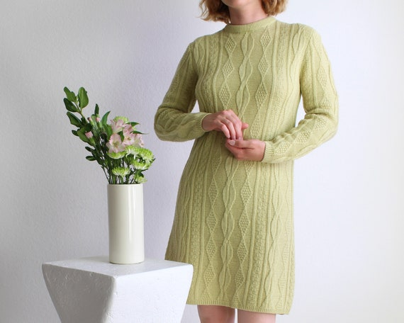 Vintage Sweater Dress Womens Small 1960s Mod Wool… - image 1