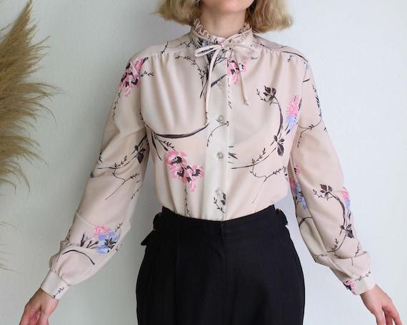 Vintage puff sleeve shirt LARGE 1970s shawl collar shirt