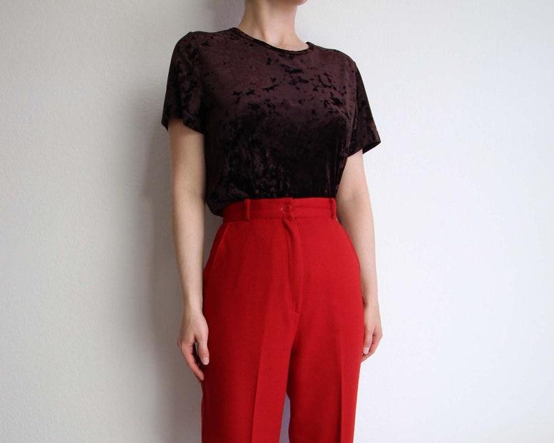 Vintage Crushed Velvet Shirt Womens Top 1990s Tee Shortsleeve Tshirt Dark Brown Medium