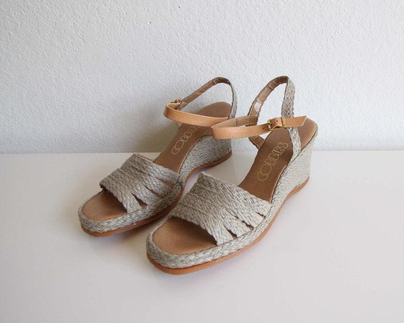 93065132245 Vintage Sandals Womens 1970s Espadrille Wedge Heels Size 8.5