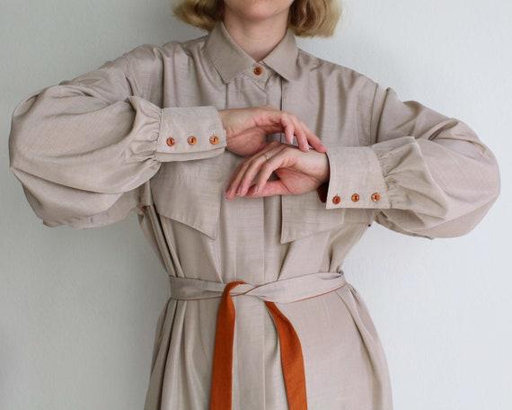 Vintage 1970s Shirtdress Beige Belted Womens Dress