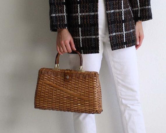 Vintage Wicker Handbag 1960s Top Handle Bag