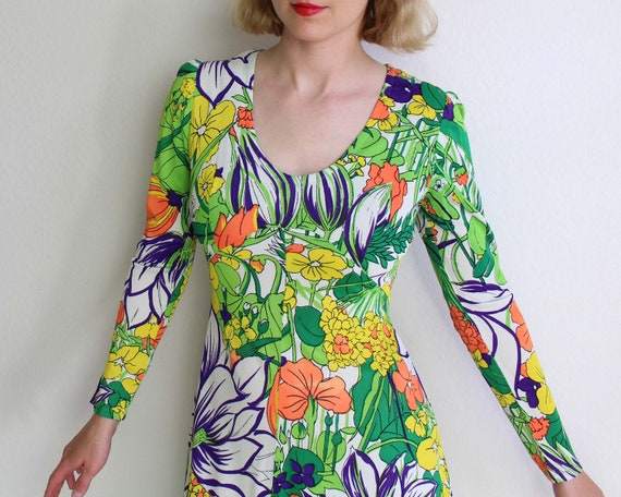 Vintage 1970s Dress Womens Small Floral
