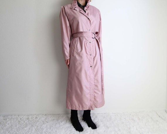 Vintage Pink Trench Coat Womens Jacket Small 1980s