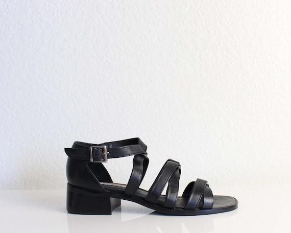 Vintage Gladiator Sandals Black Leather Womens Shoes Size 7