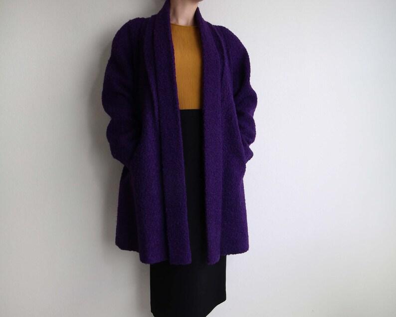 vast selection search for best best loved Vintage Womens Coat 1980s Purple Open Boucle Wool Winter Coat Medium