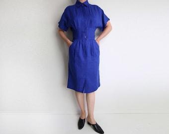 VINTAGE Blue Dress Linen Dress 1980s Nordstroms Shortsleeve Small