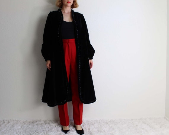 Vintage Black Velvet Jacket Opera Coat Womens Medi