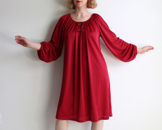 Vintage Red Dress 1970s Trapeze Dress Womens Large