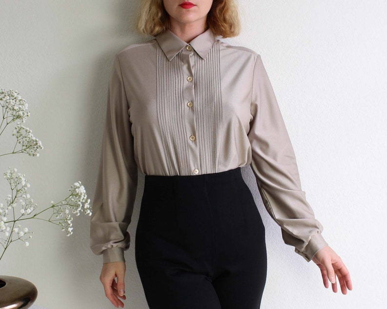 Vintage Blouse 1970s Shirt Womens Top Medium