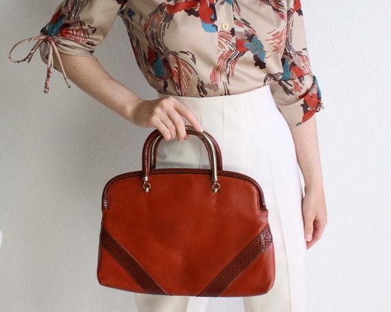 Vintage 1970s Burnt Orange Handbag