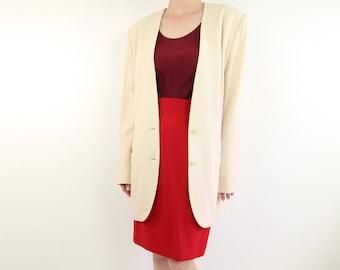 VINTAGE Calvin Klein Ivory Blazer 1990s Minimalist Wool Jacket Medium