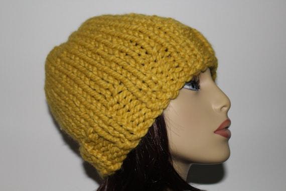 e7482af5ddf Mustard Beanie Hat Yellow Knit Hat Mustard Skull Cap