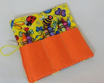 Crayon Roll Ups Kids Crayon Roll-Ups Boys and Girls Crayon Roll-Ups  Party Favors Bug Fabric Roll-Up Birthday Favors