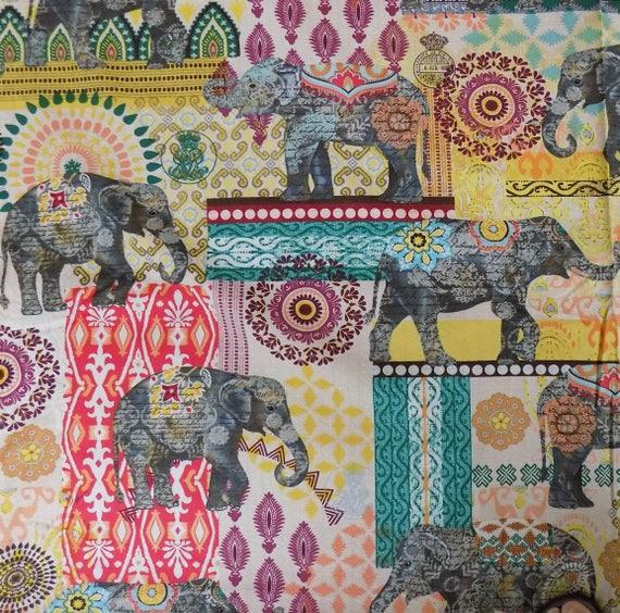 Elefant Indien Druck Material Nähen Stoff Quilten Versorgung