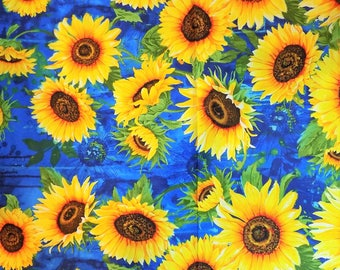Sunflower Fabric Sunflowers Cotton Material  Timeless Treasures Sewing Supply Quilting Fabric Craft Supply
