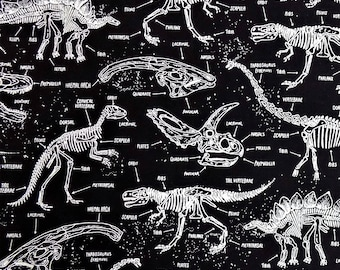 Dinosaur Fabric Glow in the Dark Cotton Material TImeless Treasures Sewing Fabric Quilting Fabric Craft Supply
