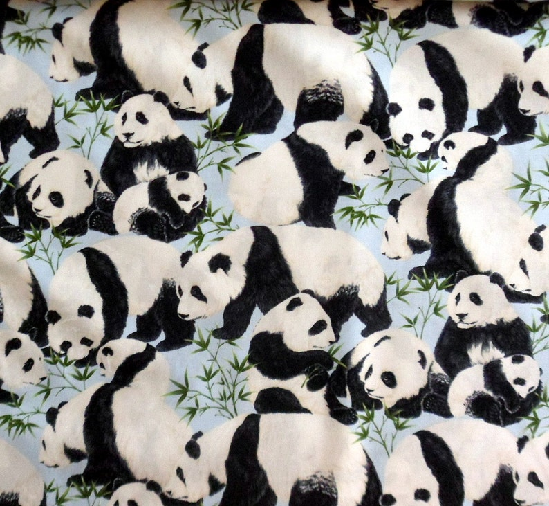 d988bf0e7442 Panda Bear Fabric Cotton Material with Panda Bears Timeless