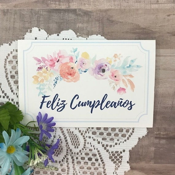 Feliz Cumpleanos Tarjeta Printable Birthday Card In Spanish