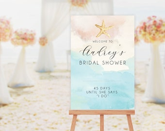 Beach Bridal Shower Editable Welcome Sign Instant Download Templett 7485773