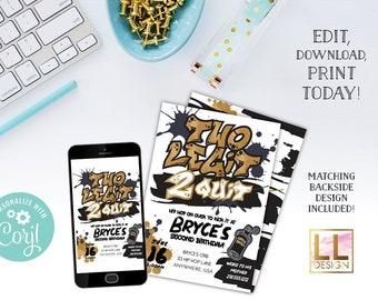 DIY Editable Two Legit 2 Quit Birthday Invitation