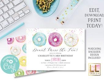 DIY Editable Donut Birthday Invitation