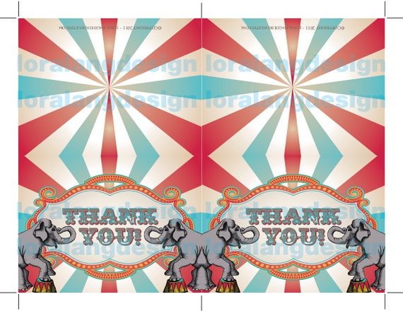Diy Printable Vintage Carnival Circus Thank You Cards Instant