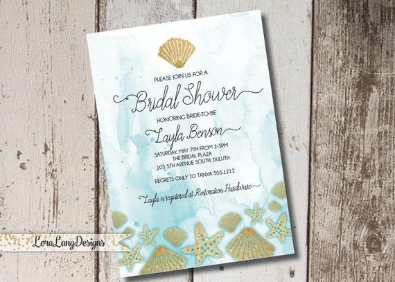 Beach Themed Bridal Shower Invitation Ocean Themed Invitation