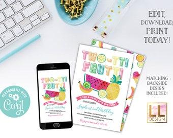 DIY Editable Two-tti Frutti Birthday Invitation
