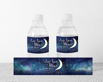 DIY Printable Love You to the Moon Water Bottle Labels