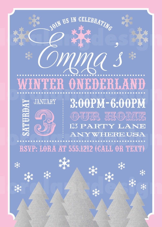 DIY Printable Winter Onederland Birthday Invitation