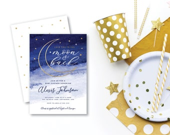 DIY Editable Love You to the Moon and Back Baby Shower Invitation