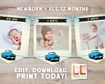Editable Monthly Photo Vintage Truck Banner Instant Download Templett 6787579