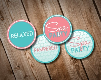 DIY Printable Spa Party Cupcake Toppers or Party Circles INSTANT DOWNLOAD