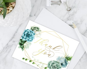 Digital Printable Succulents Thank You Cards INSTANT DOWNLOAD