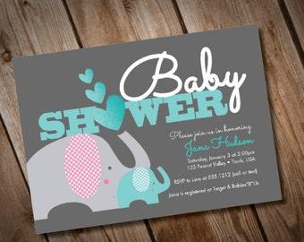 DIY Printable Elephant Baby Shower Invitation Baby Boy