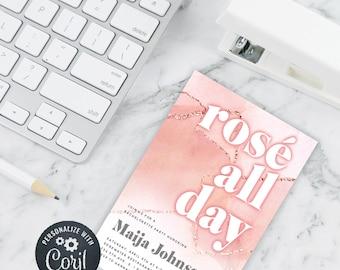 DIY Editable Rosé All Day Invitation