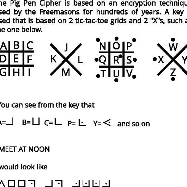 Secret Decoder Ring  Pig Pen Cipher image 3