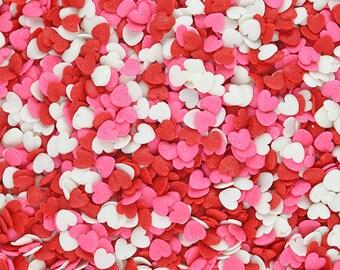 fake heart sprinkles chocolate sprinkles hearts polymer sprinkles Chocolate hearts clay hearts heart sprinkles Fake sprinkles