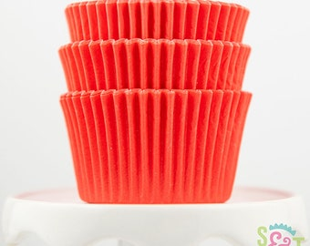 Solid Coral Cupcake Liners   Coral Greaseproof Baking Cups - 36 count pack