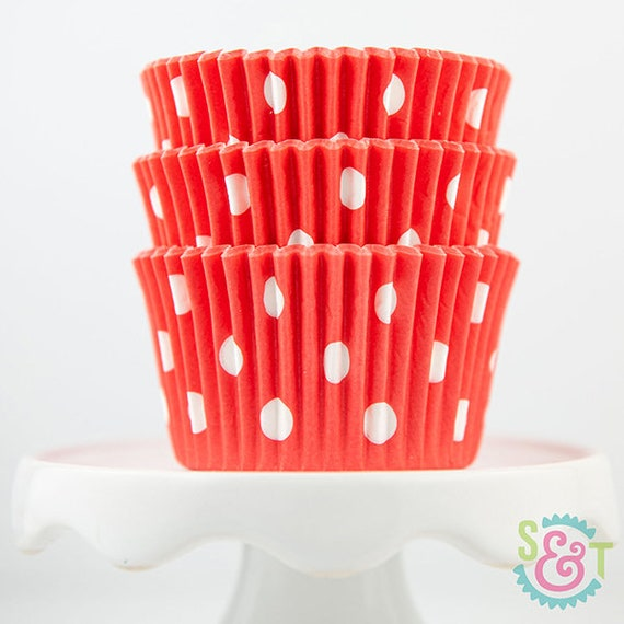 Bakebright Dot Coral Cupcake Liners Baking Cups 36 Count