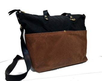 Fashionable Brown Waxed Canvas Zipper-Top Crossbody Tote Bag, Leather Straps, Chrome Detail