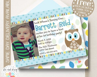 Owl Photo Invitation For Boys Birthday Party Woodland Printable Invite Kids First Invitations Invites BeeAndDaisy