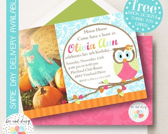 Owl Invitation For Girls Birthday Party Printable Woodland Invite Kids First Invitations Photo Invites BeeAndDaisy