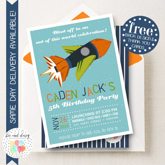 Vintage space invitation for boys birthday party printable rocket il570xn filmwisefo