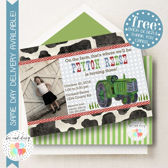 farm invitation for boys birthday party green tractor printable